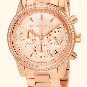 Michael Kors Ritz Chronograph Rose Gold-Tone Watch
